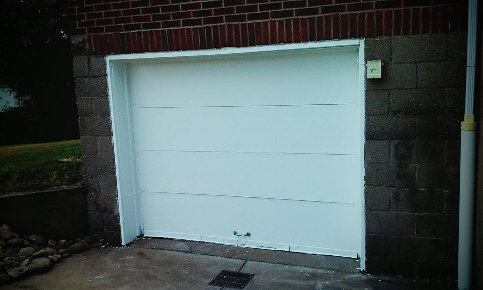 a painted garage door