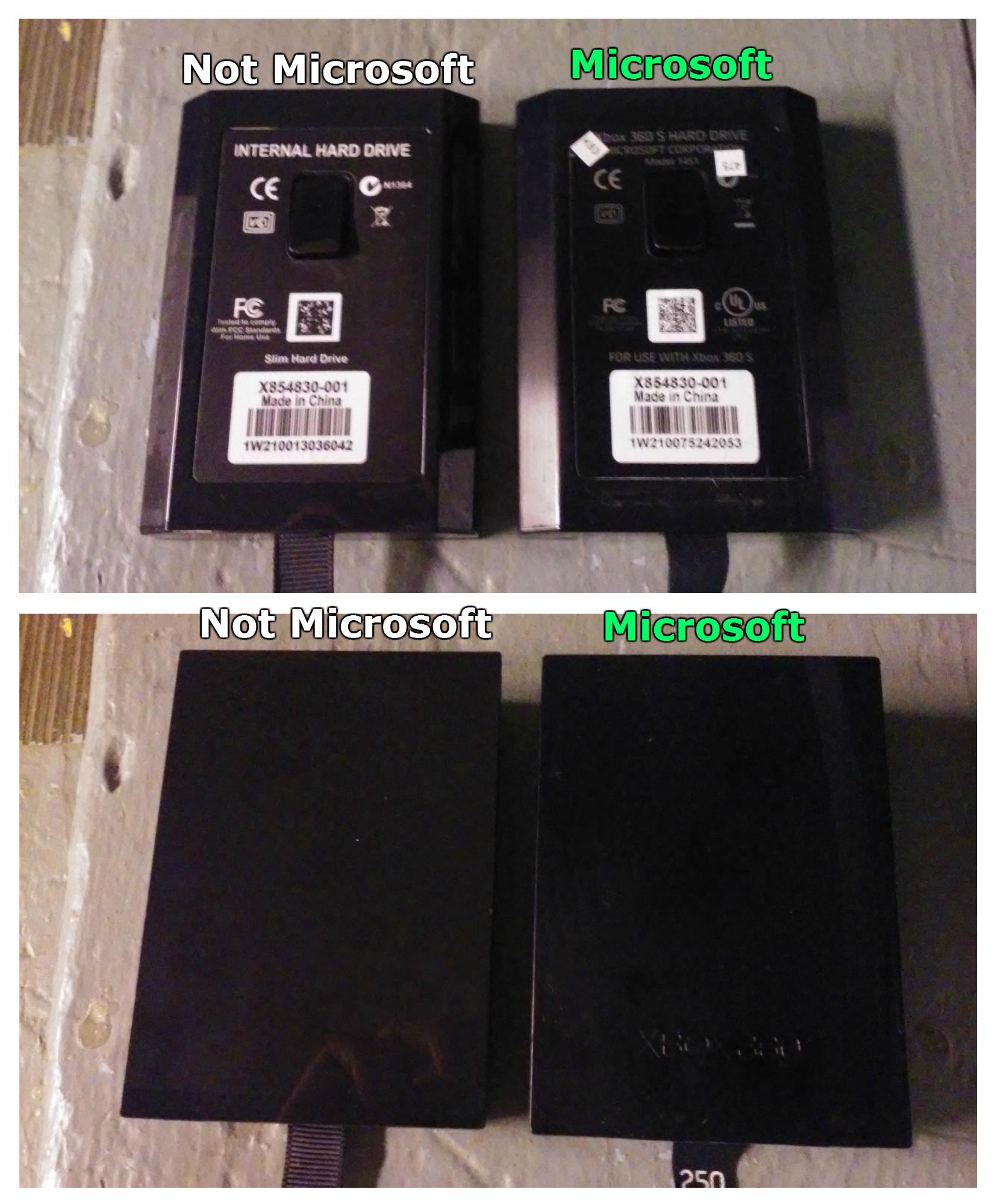 Microoft vs Non-Microsoft Xbox 360 internal hard drives