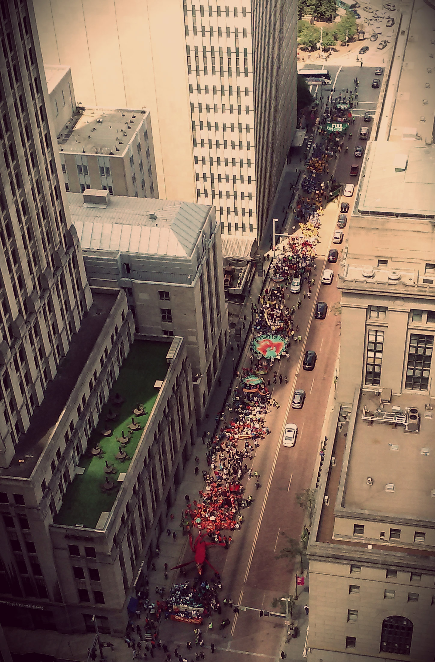 A photo of a protest in Pittsburgh, taken from the USX tower